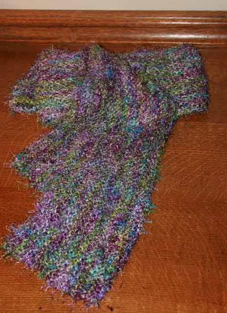Pattern: None. Lengthwise knitted scarf. Yarn: Coming soon